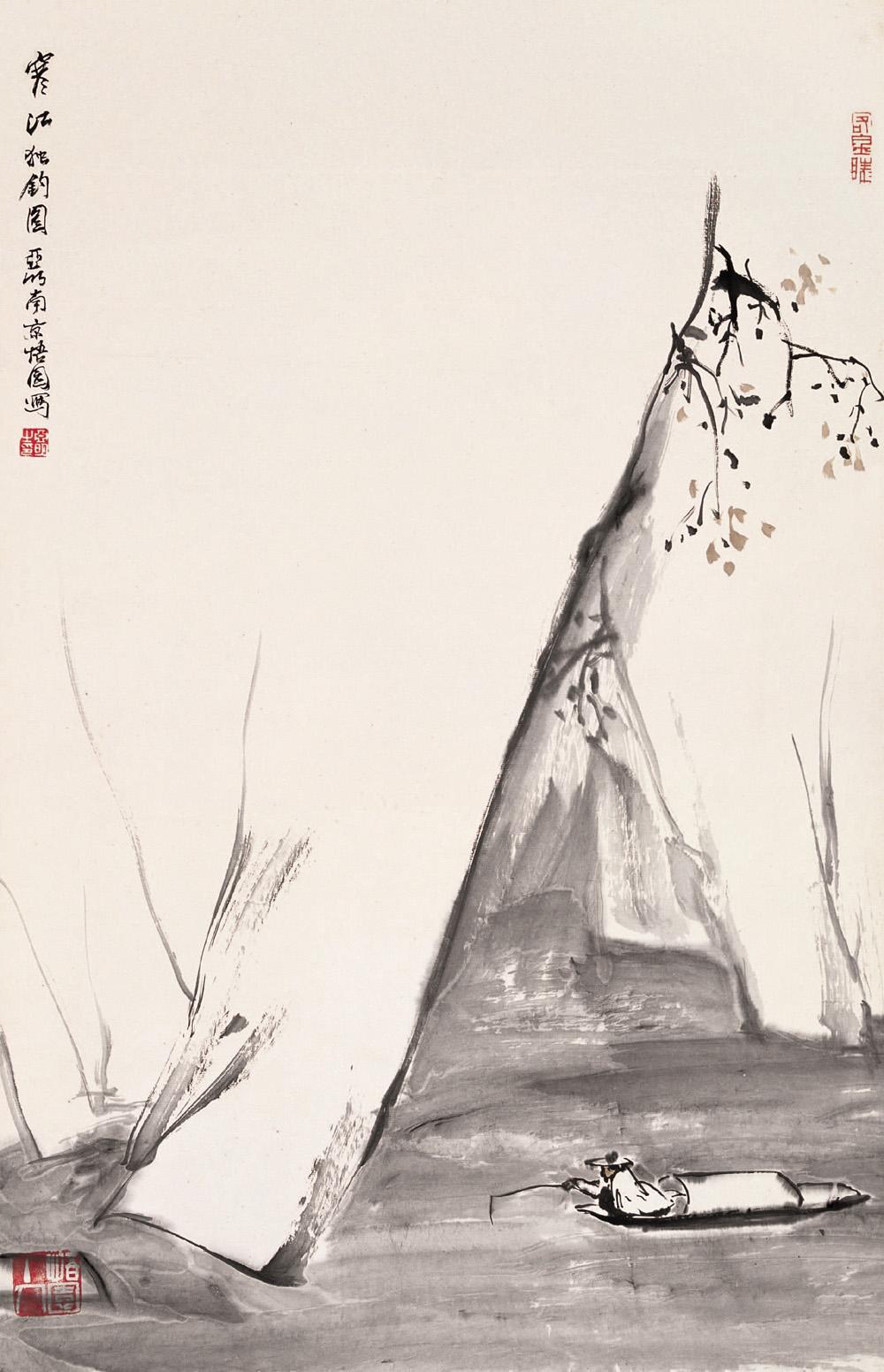 孤舟和山水墨画